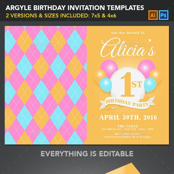 Birthday Invitation Templates - Argyle
