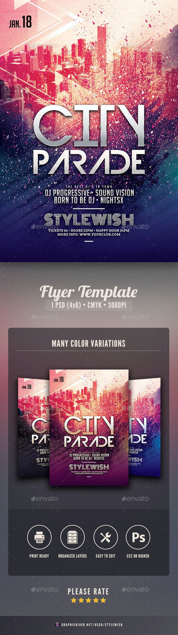 city parade flyer by stylewish graphicriver