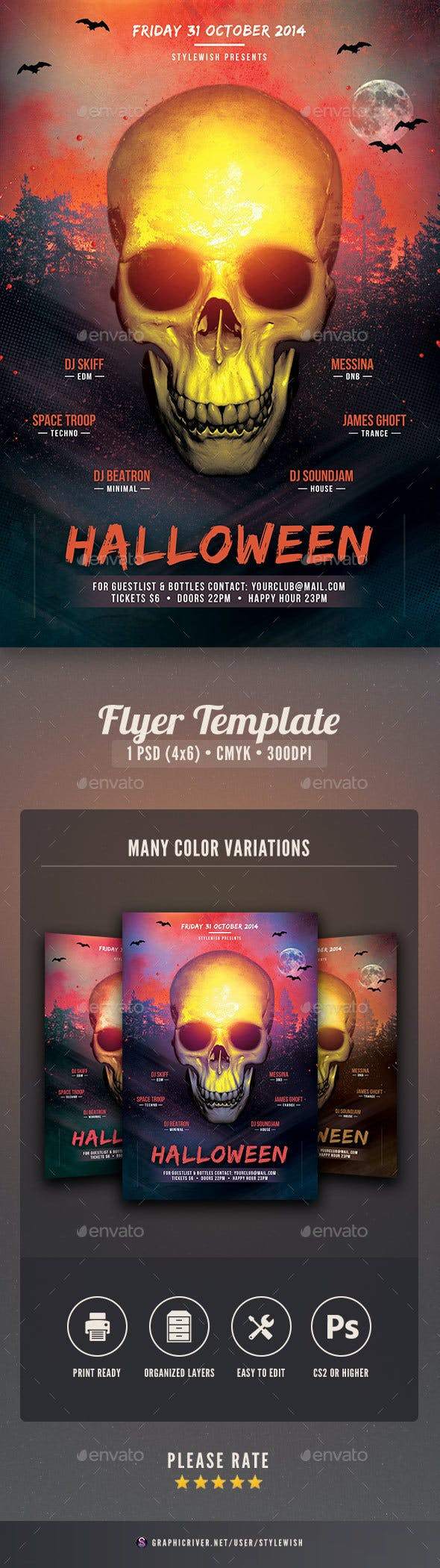 halloween party flyer template by stylewish graphicriver