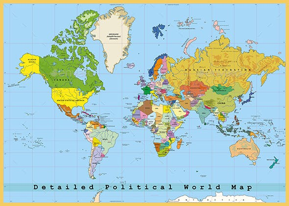 Highly Detailed Political World Map With Capitals Separated Layers