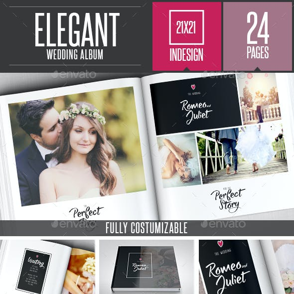 Elegant Wedding Square Photo Al Template