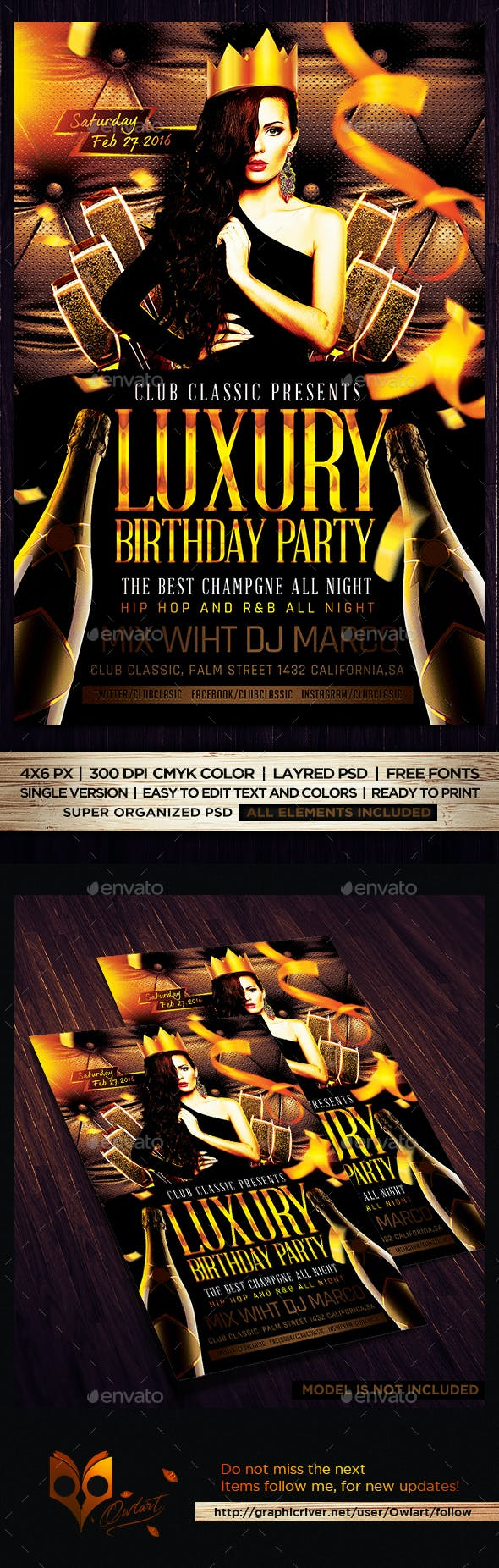 Luxury Birthday Party Flyer Template Psd By Owlart Graphicriver