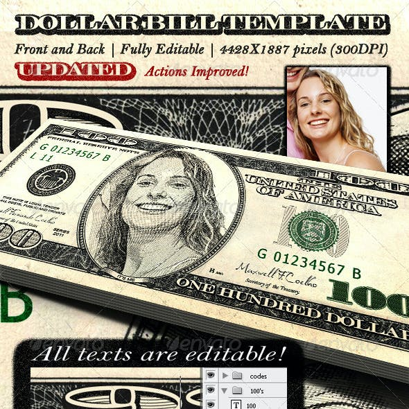 Dollar Bill Template Front And Back By Maxwellcoelho Graphicriver