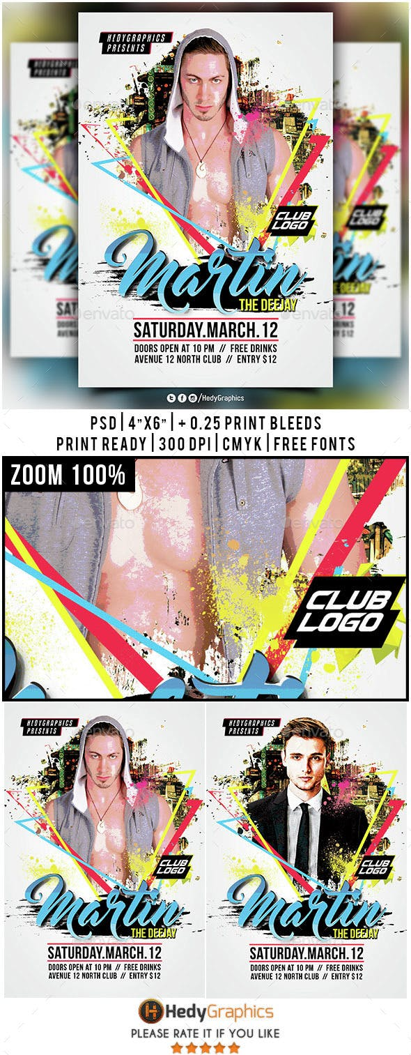 guest dj artist flyer template by hedygraphics graphicriver