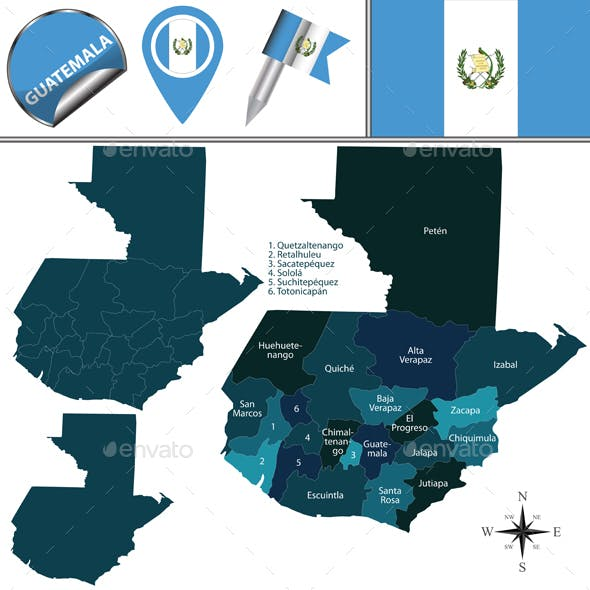 Departments Map Of Guatemala on