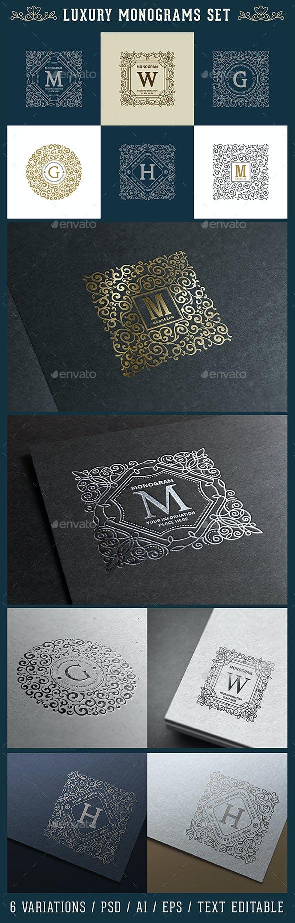 luxury logo and monogram set by mari pazhyna graphicriver