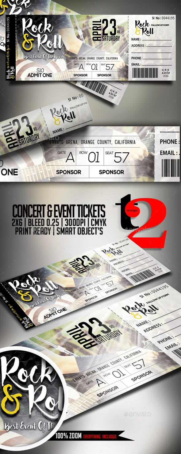 concert event tickets template by take2design graphicriver