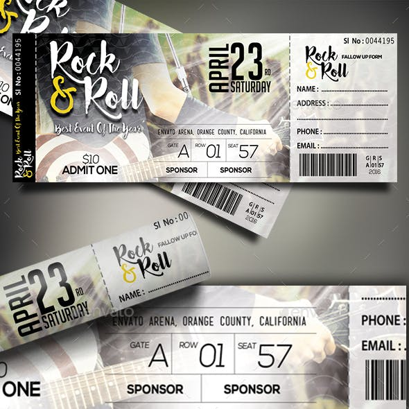 concert ticket graphics designs templates from graphicriver