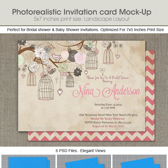 5x7 And Invitation Card Graphics Designs Templates