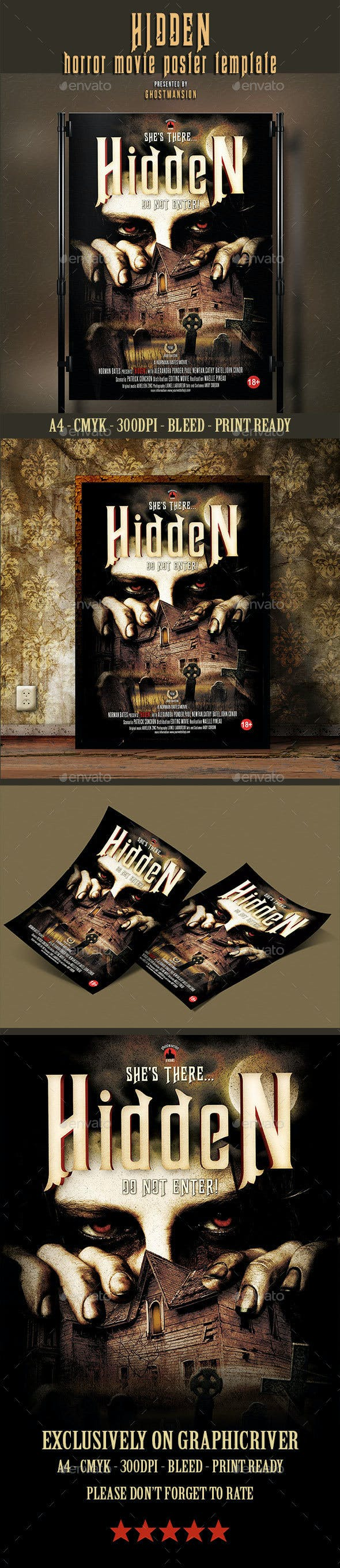 hidden horror movie poster template by ghostmansion graphicriver