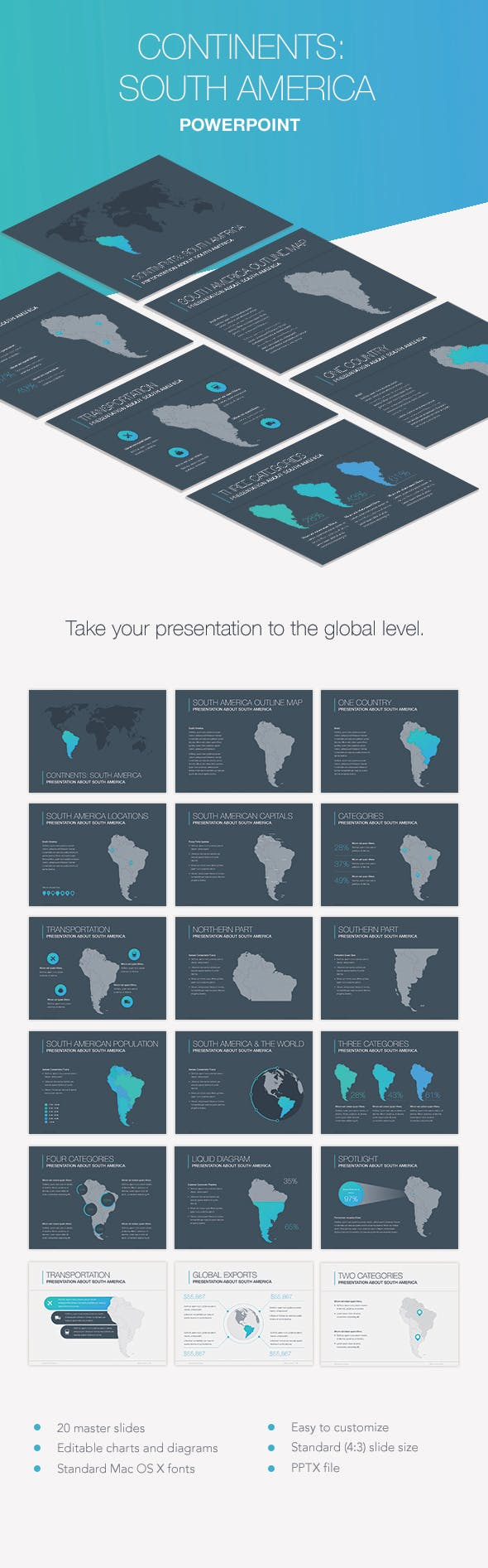 continents south america powerpoint template by jumsoft graphicriver