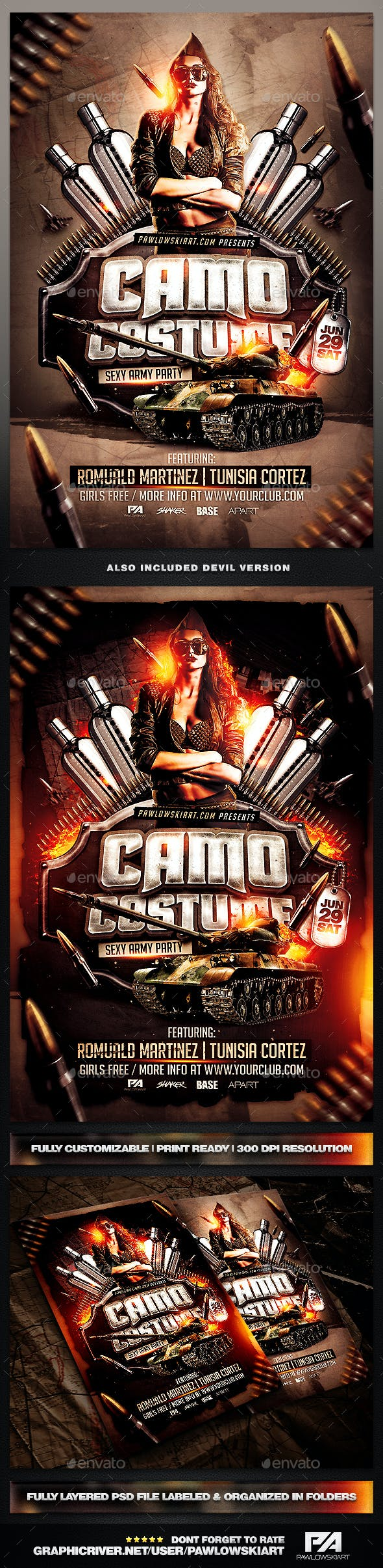 camo costume party psd flyer template by pawlowskiart graphicriver