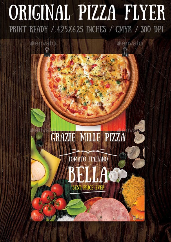 original pizza flyer template by bugsster graphicriver