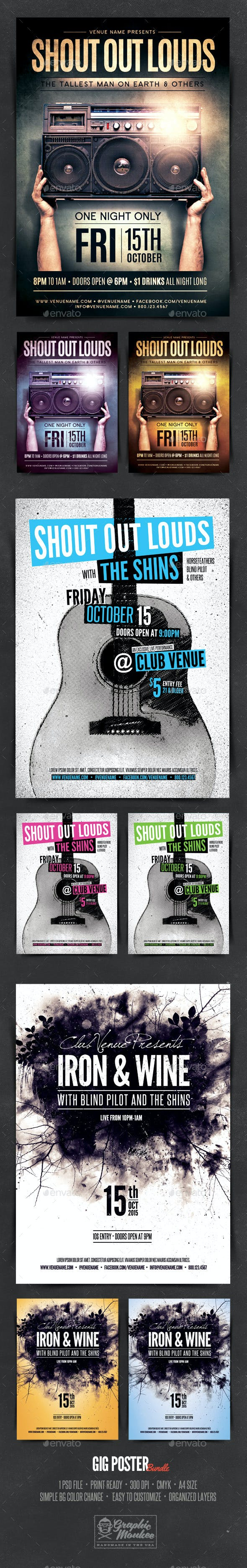 gig poster template bundle by graphicmonkee graphicriver