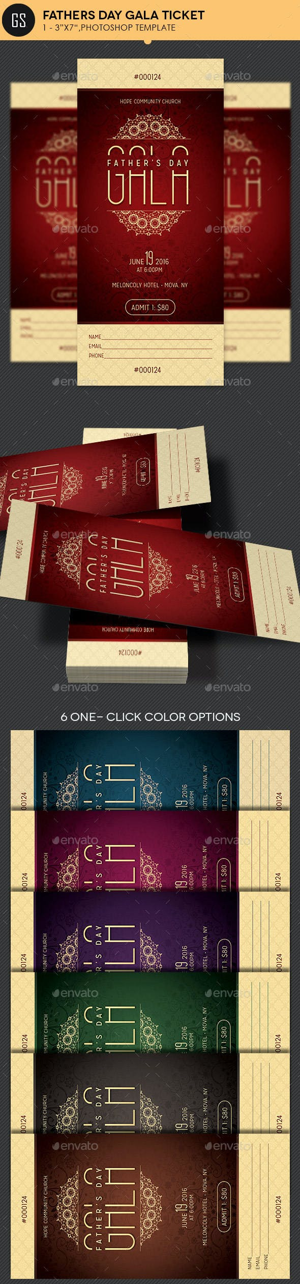 Fathers Day Gala Ticket Template