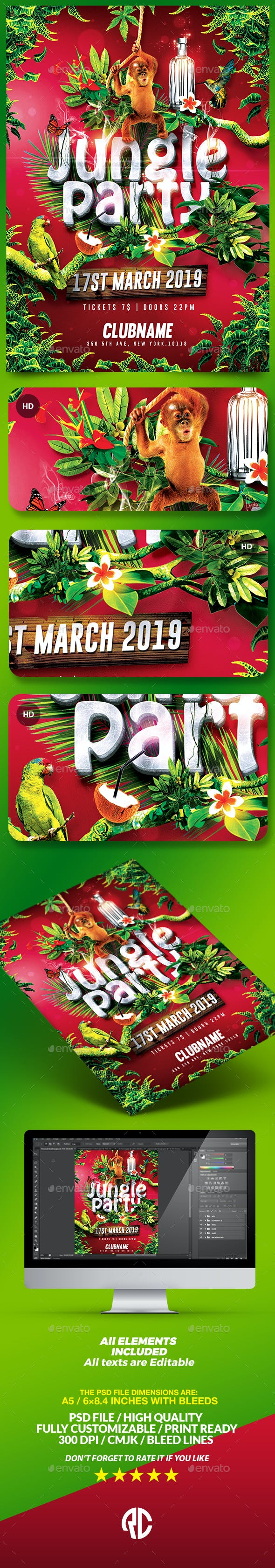 jungle party tropical flyer template by romecreation graphicriver