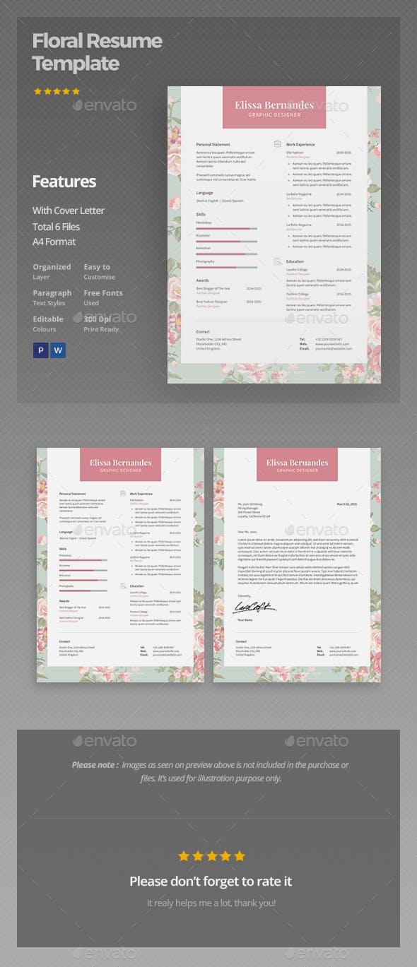 Floral Resume Template By ElissaBernandes