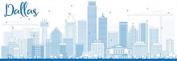 outline dallas skyline with blue buildings by booblgumpnz graphicriver