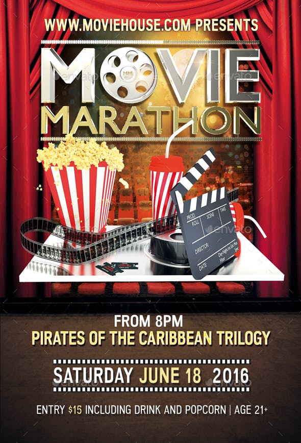 movie marathon flyer by royalflush2014 graphicriver