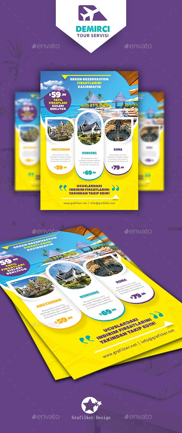 Travel Tours Flyer Templates By Grafilker Graphicriver