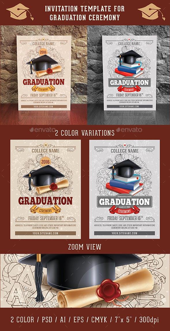 graduation ceremony invitation template by mari pazhyna graphicriver