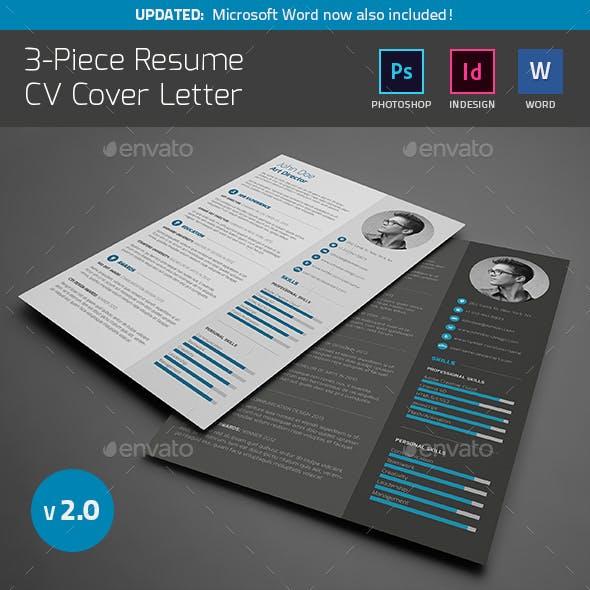 3-Piece Resume CV Cover Letter