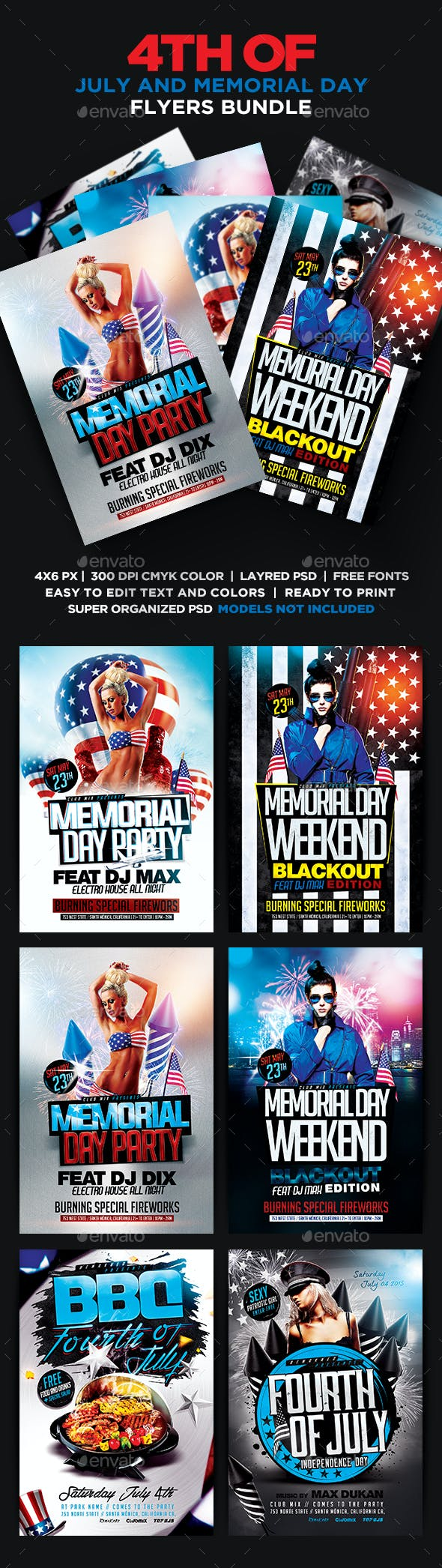 4th of july and memorial day flyers bundle psd by remakned
