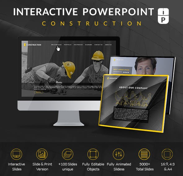construction pro professional interactive powerpoint template by