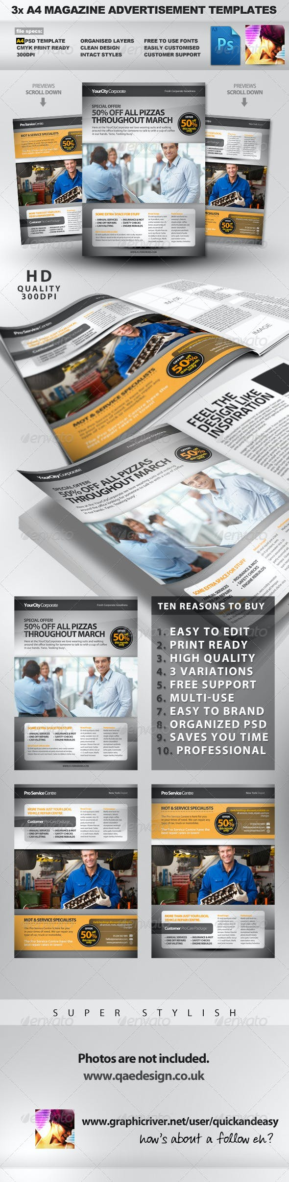 pro services a4 magazine advertisement templates 2 by quickandeasy