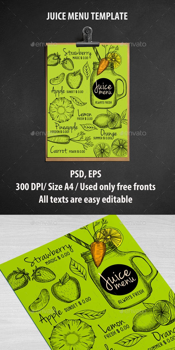juice bar menu template by barcelonadesignshop graphicriver