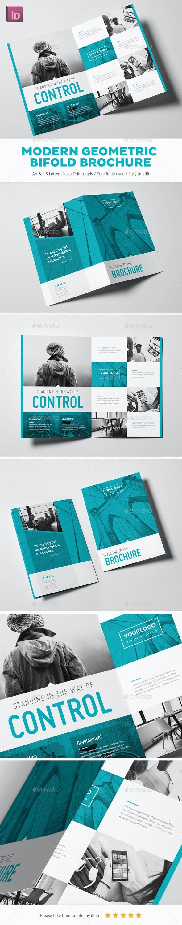 modern geometric bifold brochure by snowboy graphicriver
