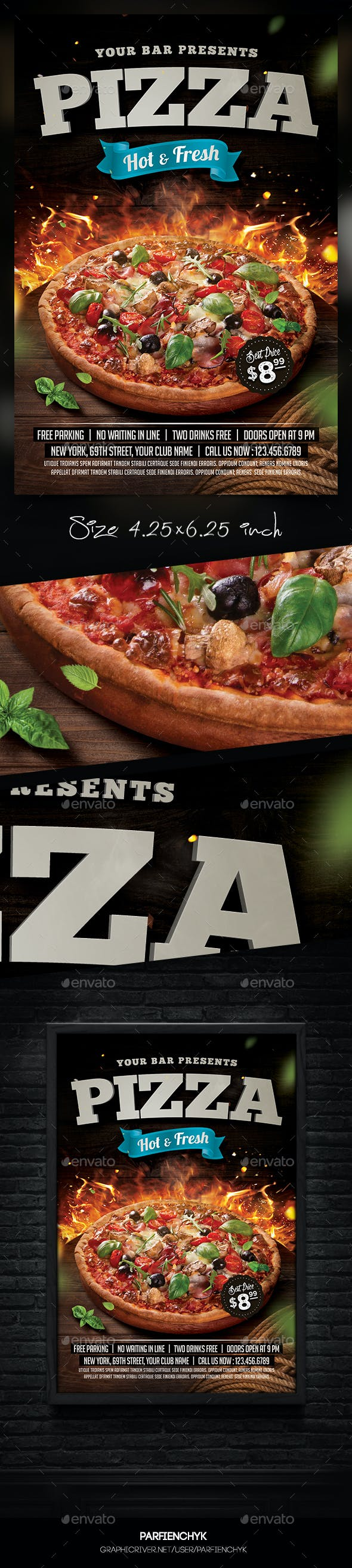 pizza flyer template by parfienchyk graphicriver