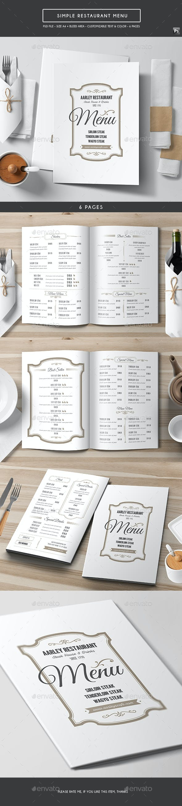 simple restaurant menu by arifpoernomo graphicriver