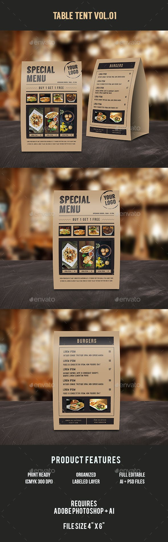 food menu table tent by infinite78910 graphicriver