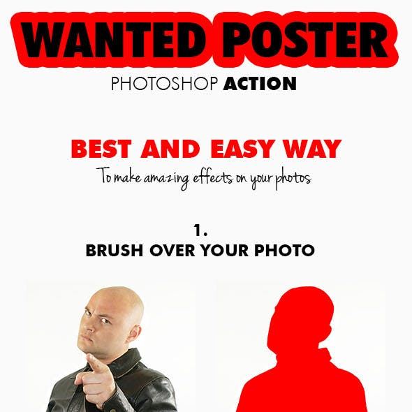 Wanted Poster Photoshop Action 85x11 Inch
