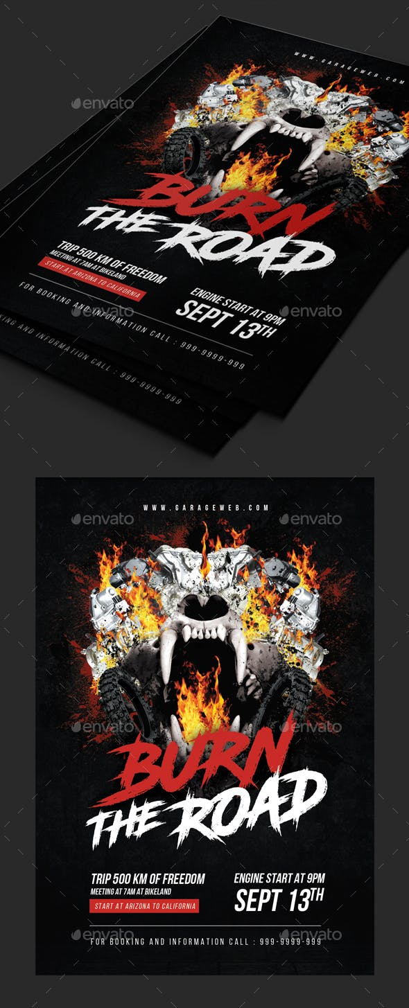 motorcycle road trip flyer template by comodensis graphicriver