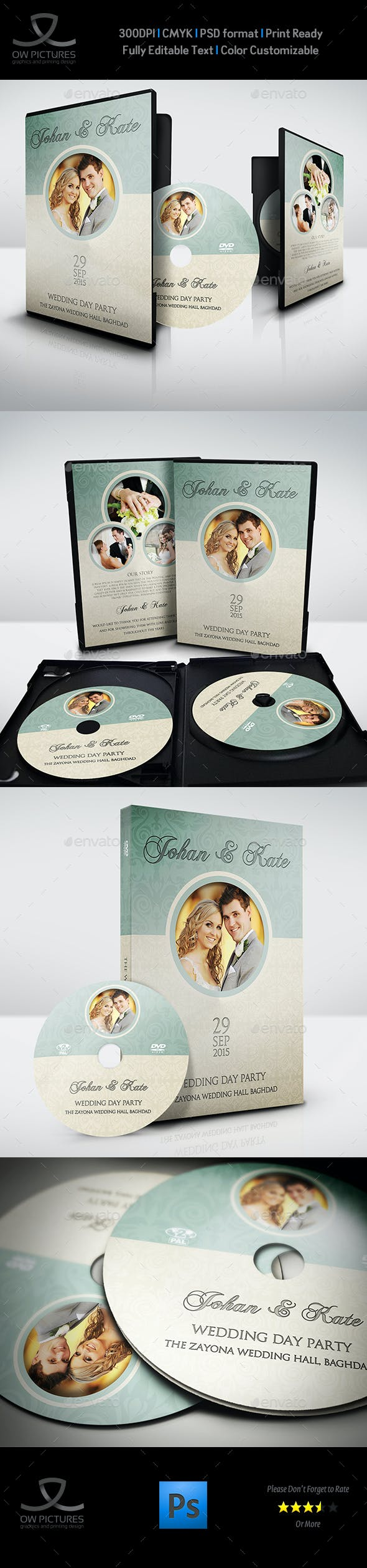 wedding dvd cover and dvd label template vol 8 by owpictures