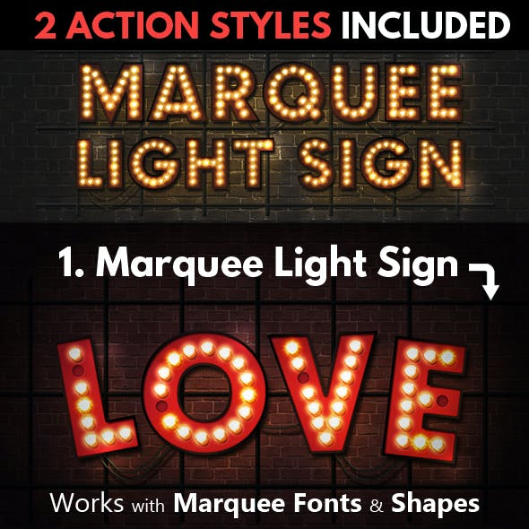 Marquee Lights and Showtime Sign Photoshop Actions