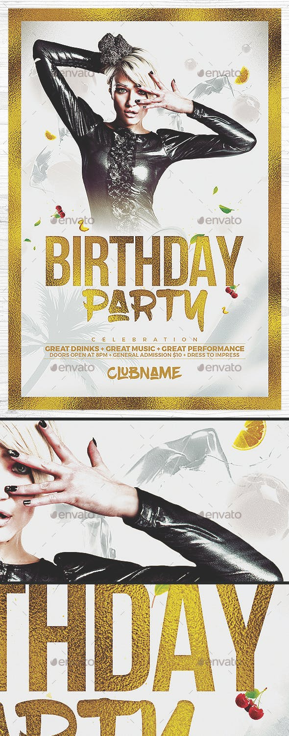gold birthday party flyer by drawzen graphicriver