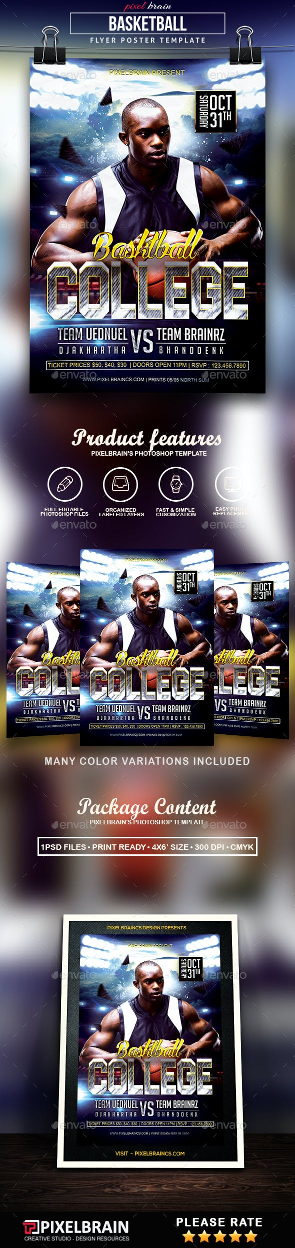 basketball college flyer template by pixelbraincs graphicriver