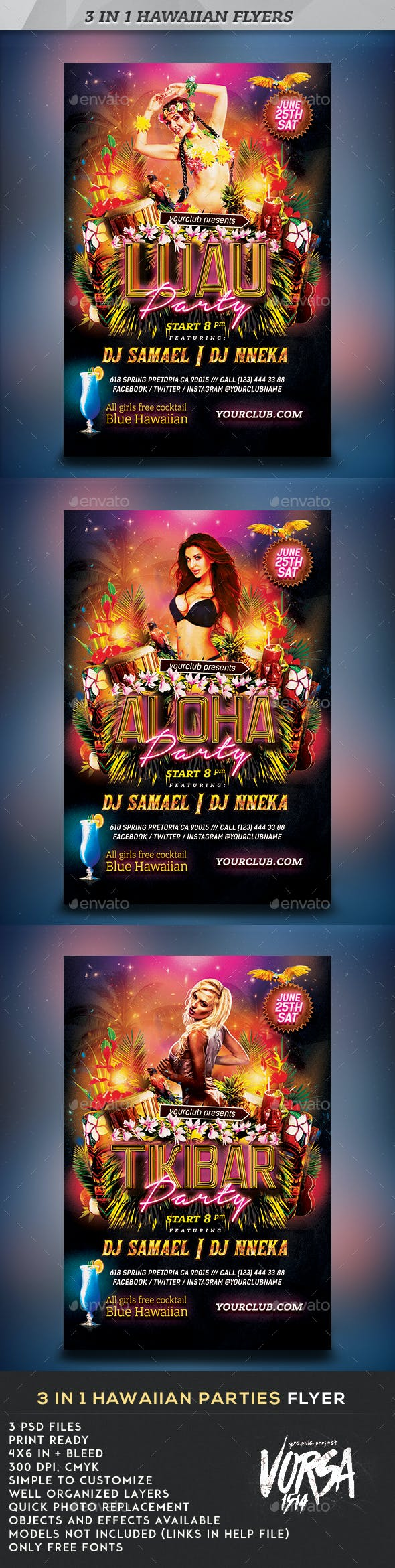 hawaiian parties flyers 3 in 1 by vorsa graphicriver