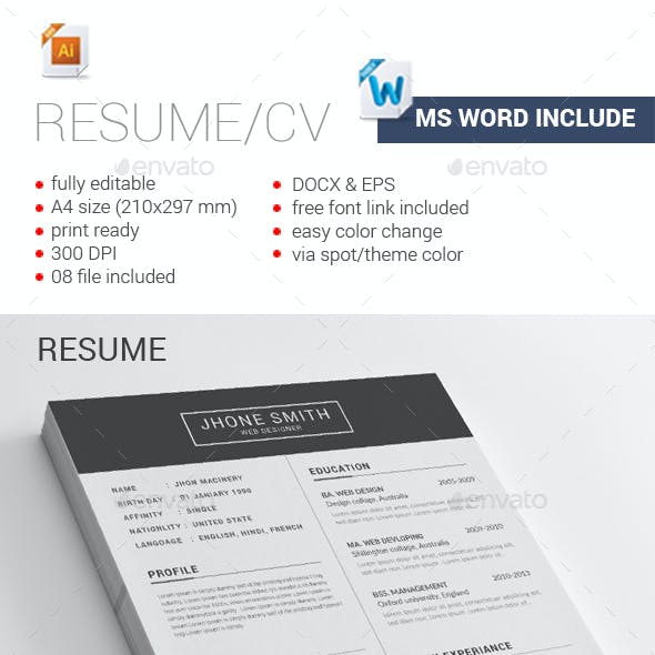 the resume stationery and design templates from graphicriver