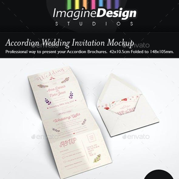 Accordion Wedding Invitation Mockup By Bagera Graphicriver