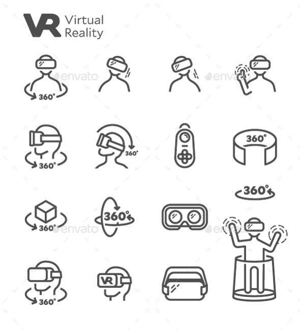 VR Virtual Reality Vector Line Icon Set by nanmulti