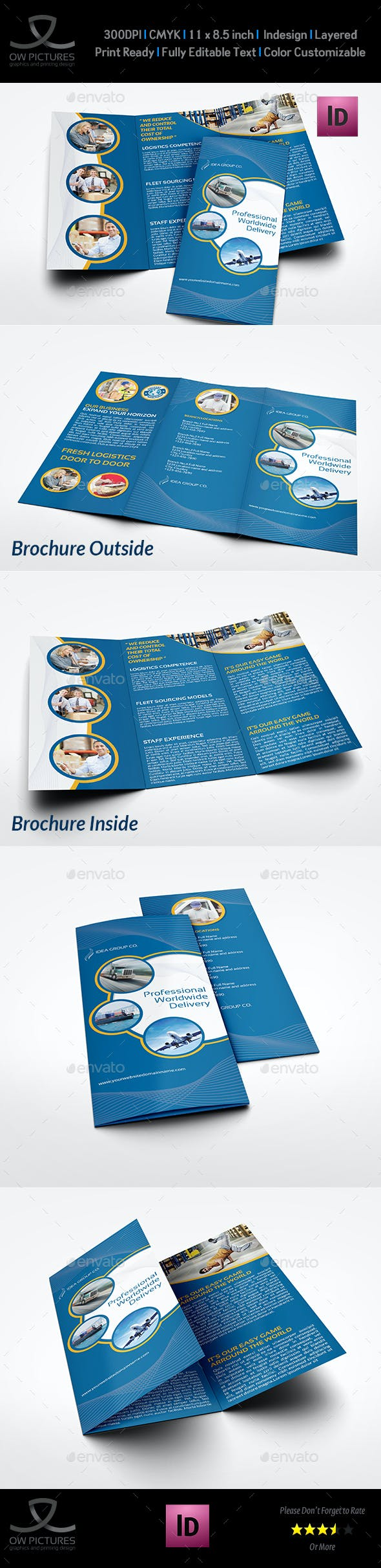 logistic services tri fold brochure template vol 3 by owpictures