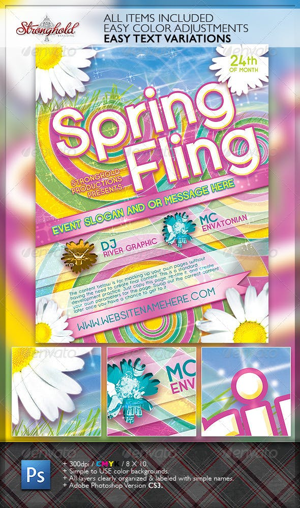 spring fling dance flyer template by getstronghold graphicriver