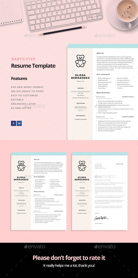 Babysitter Resume Template by ElissaBernandes | GraphicRiver