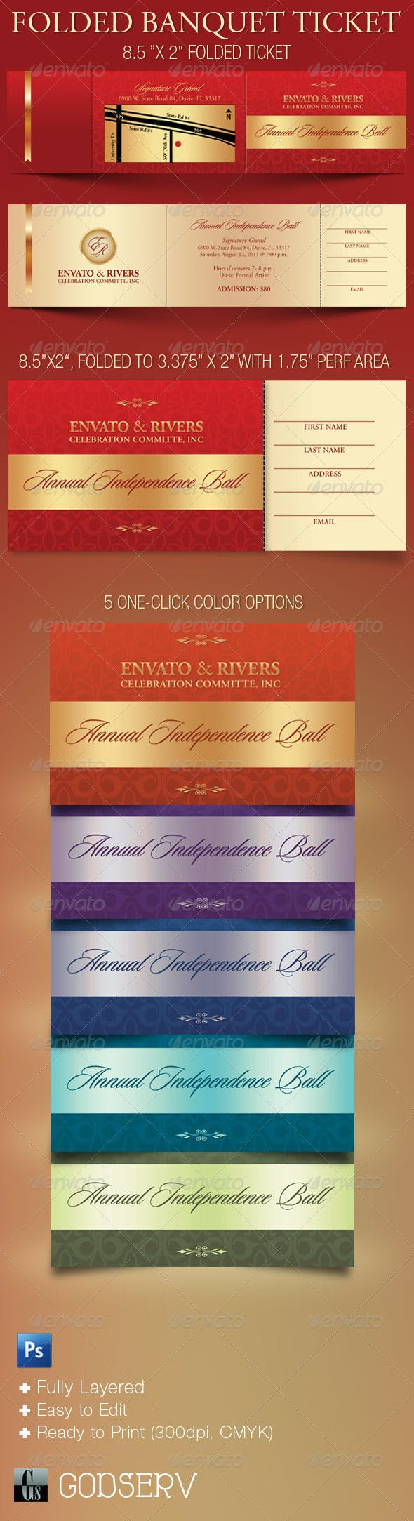 folded banquet ticket template by godserv graphicriver