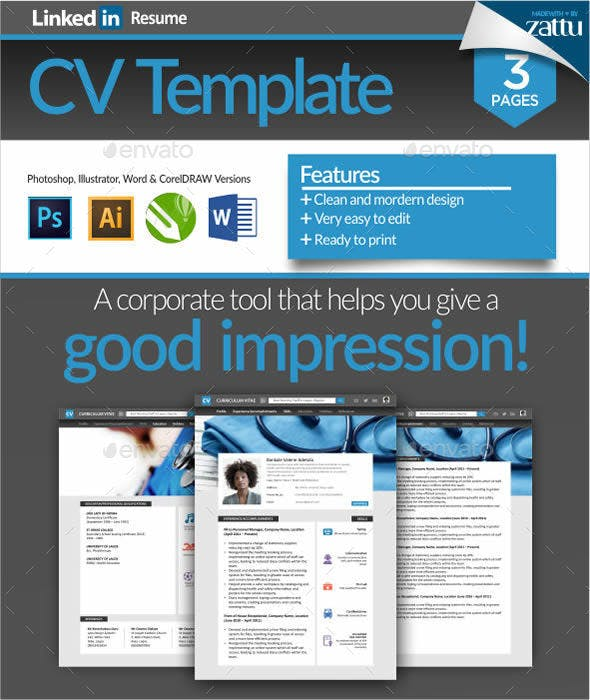 linkedin resume cv template resumes stationery