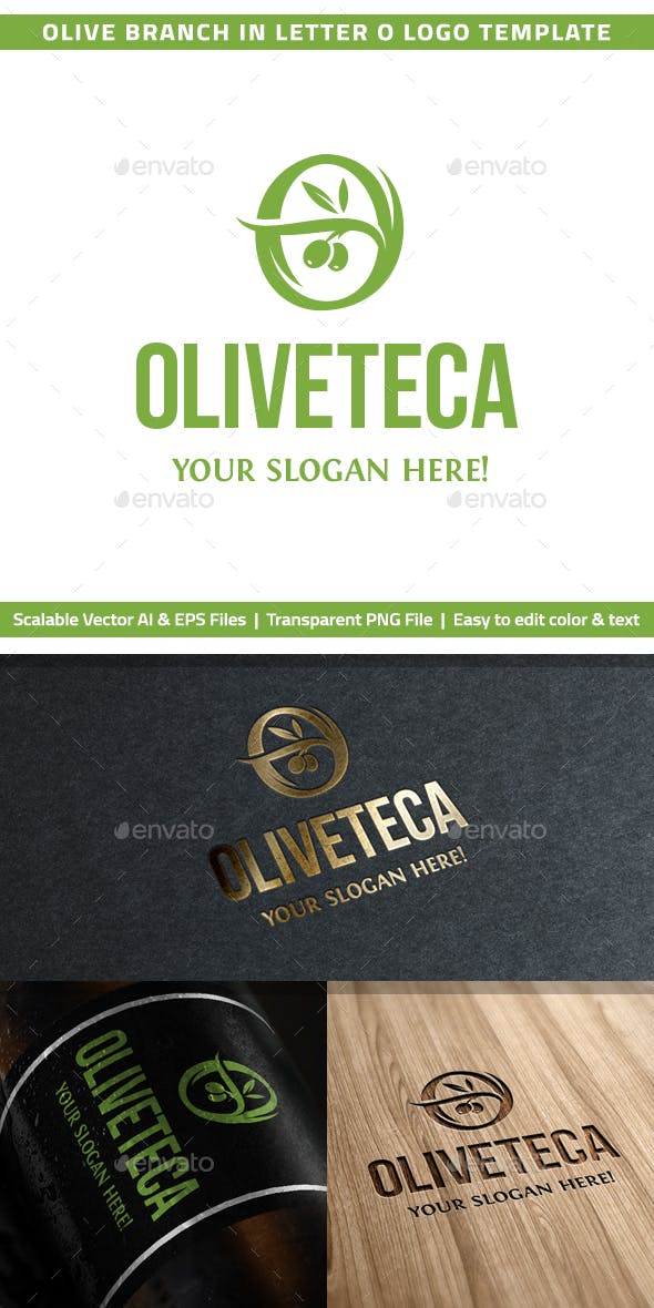 olive branch in letter o logo template by rl studio graphicriver
